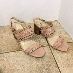 Andrew Geller pink block heel sandals
